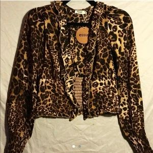 Leopard cinched top